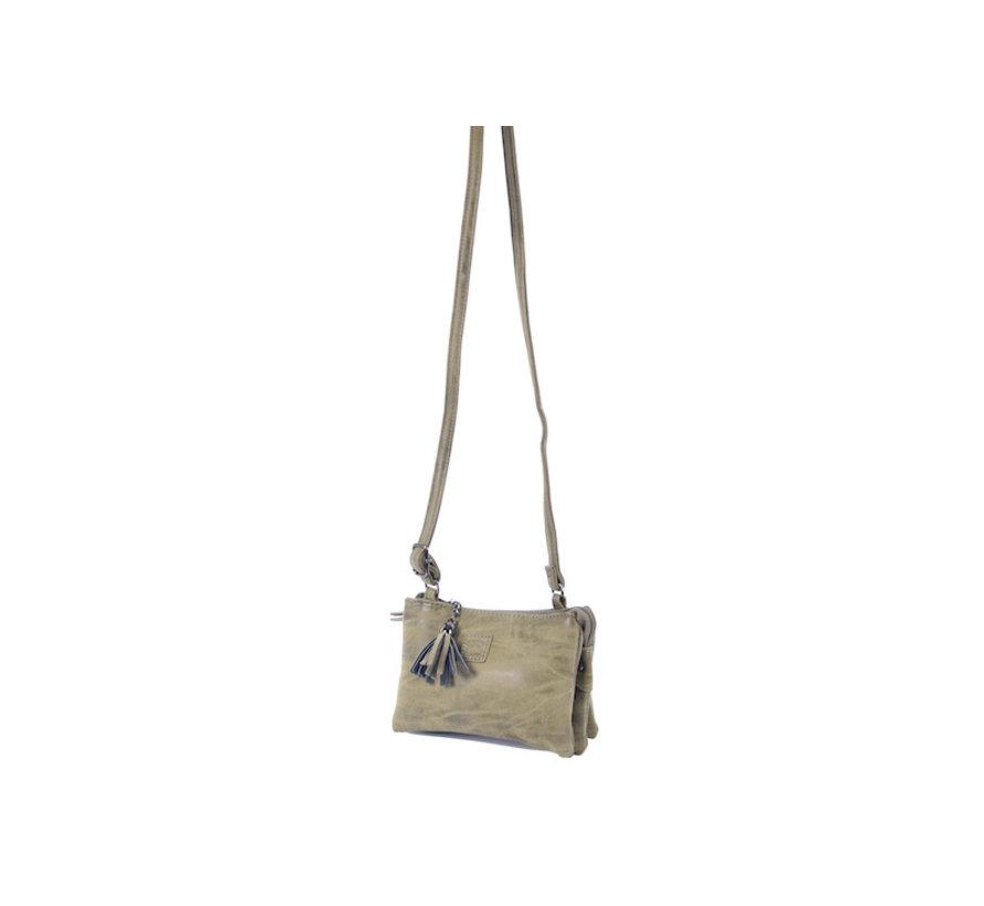 Tas - tasssen - bags - Bag- Bicky Bernard- Harmonica 3-Vaks tasje - schoudertasje - crossbody tasje - Olivegroen