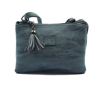 Bicky bernard Tas - tasssen - bags - Bag- Bicky Bernard- Harmonica 3-Vaks tasje - schoudertasje - crossbody tasje - donkerblauw