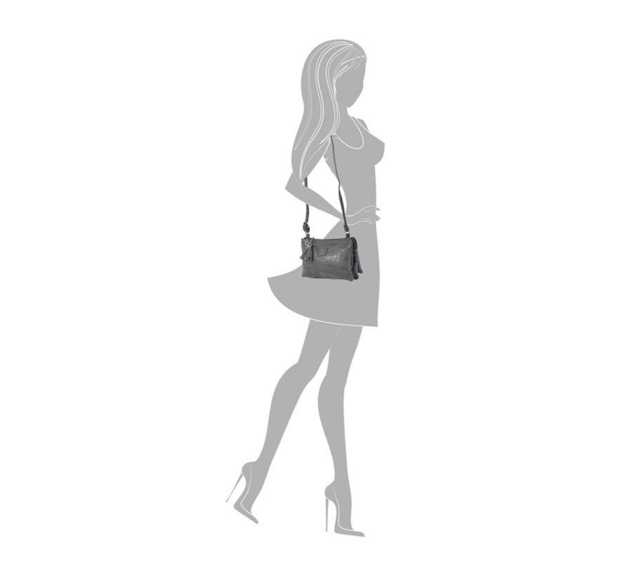 Tas - tasssen - bags - Bag- Bicky Bernard- Harmonica 3-Vaks tasje - schoudertasje - crossbody tasje - zwart