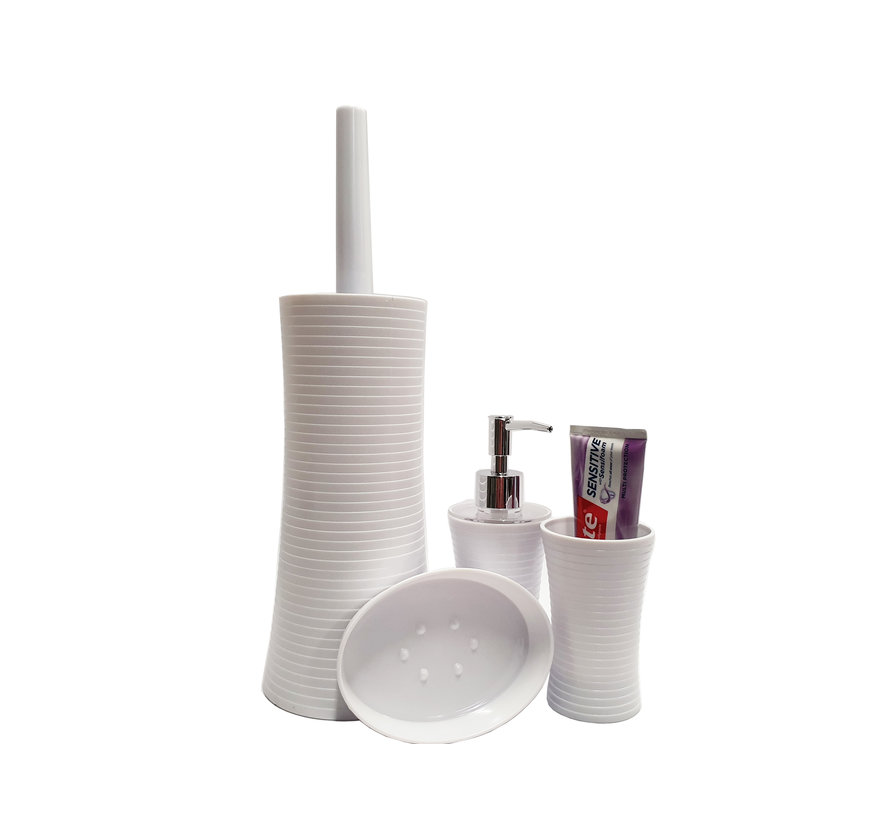 Bathroom set 4 pieces and toilet set - toilet brush - soap dispenser - soap holder - tooth brush holder