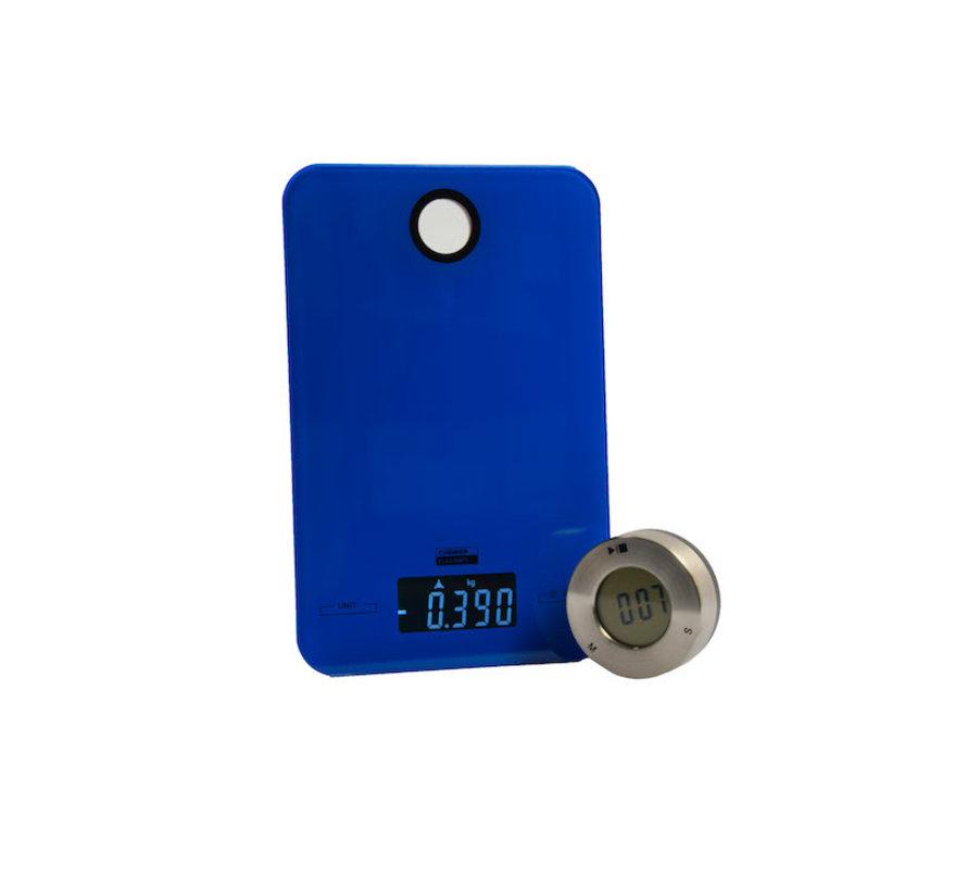 Digitale keukenweegschaal 5 KG met keuken timer\Blauw