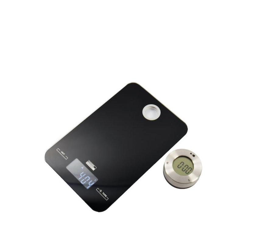 Digitale keukenweegschaal 5 KG met keuken timer/zwart
