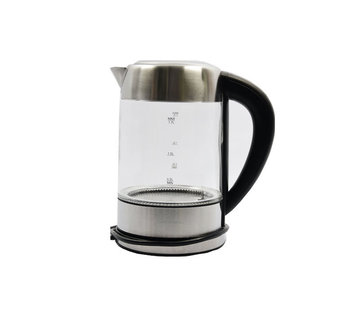 Discountershop Glass kettle stainless steel with Green - blue - light green - purple and red LED light (1.7 Liter)