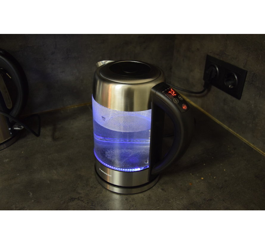 Glass kettle stainless steel with Green - blue - light green - purple and red LED light (1.7 Liter)