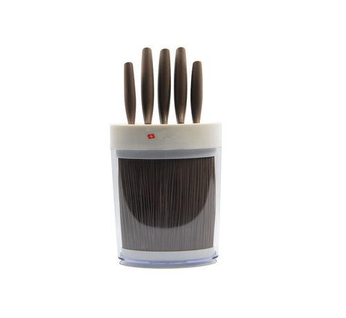 Discountershop Beige Knife set 6-piece - 5 knives in beige holder / Small format