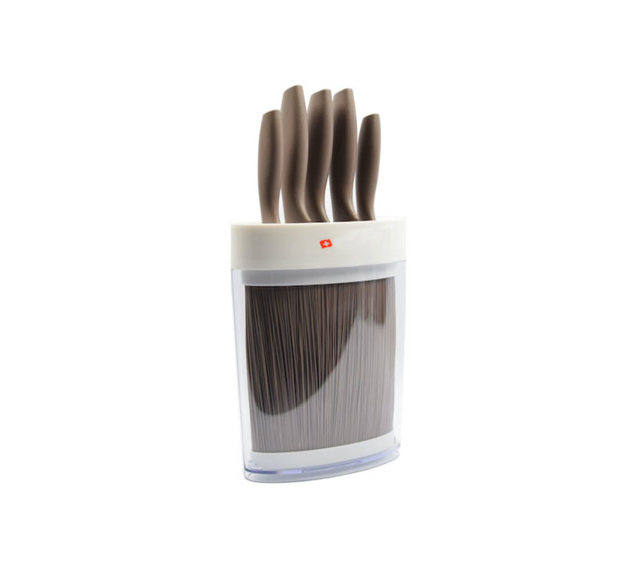 Beige Knife set 6-piece - 5 knives in beige holder / Small format