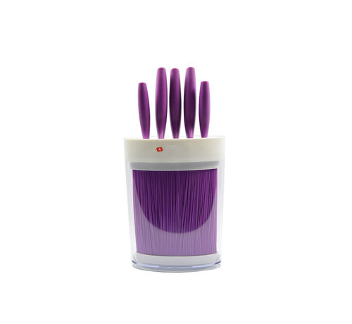 Discountershop Purple knife set 6-piece - 5 knives in purple holder