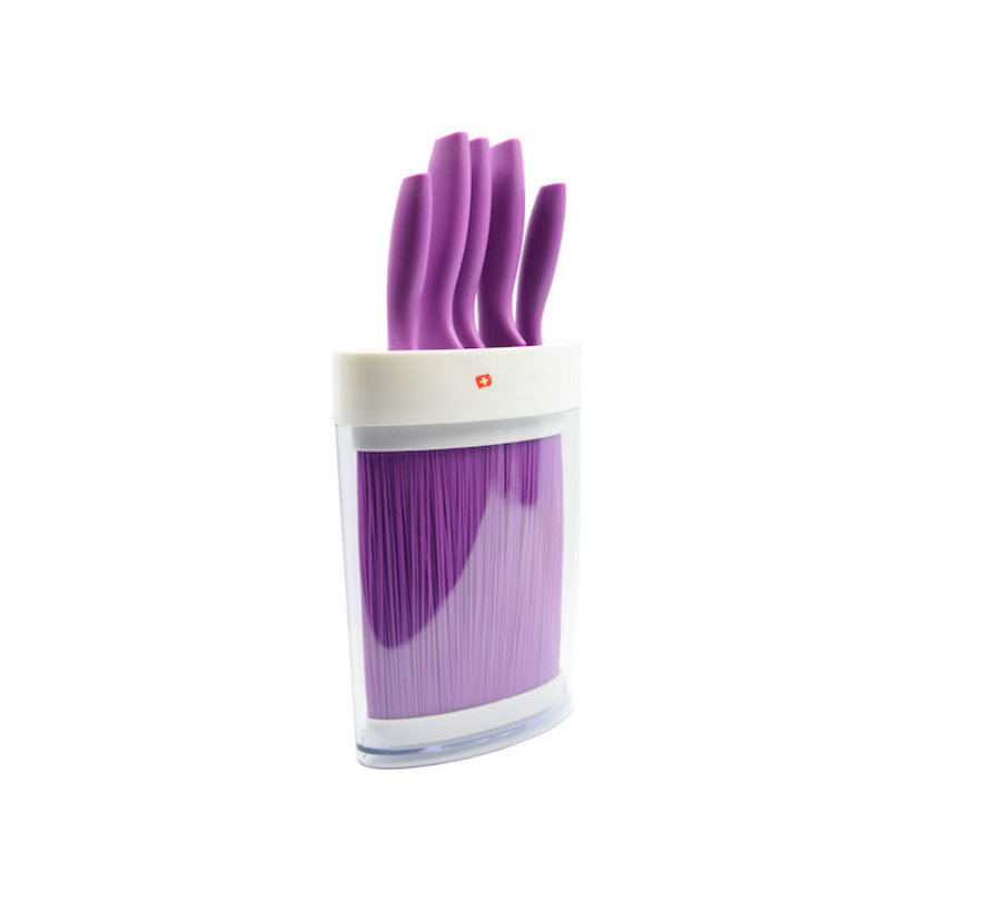 Purple knife set 6-piece - 5 knives in purple holder