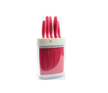Discountershop Pink knife set 6-piece - 5 knives in pink holder