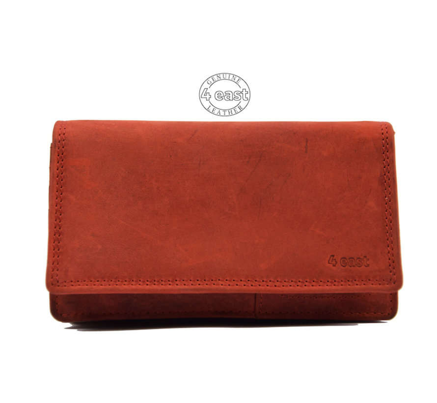 Wallet - 17 cards - Ladies wallet - Harmonica wallet buffalo leather red- Wallet red Transfer wallet - Harmonica wallet - Buffalo leather wallet
