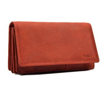 4East Portemonnee - 17 pasjes - Dames portemonnee - Dames portemonnee - Harmonica portemonnee buffelleer Rood - Portemonnee rood Overslagportemonnee- Harmonicaportemonnee -