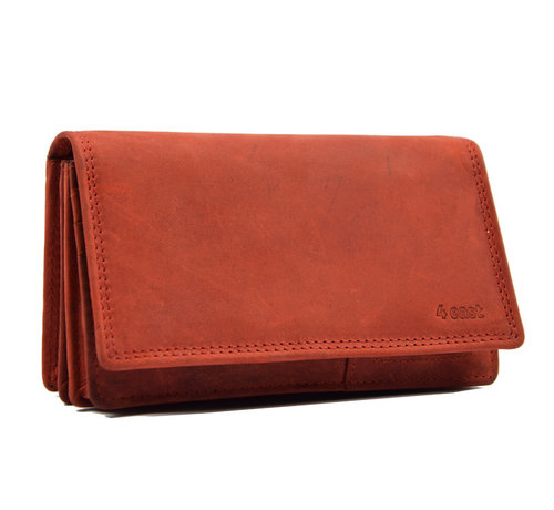 4East Wallet - 17 cards - Ladies wallet - Harmonica wallet buffalo leather red- Wallet red Transfer wallet - Harmonica wallet - Buffalo leather wallet