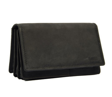 4East Wallet - 17 cards - Ladies wallet - Harmonica wallet buffalo leather Black - Wallet black Transfer wallet - Harmonica wallet - Buffalo leather wallet