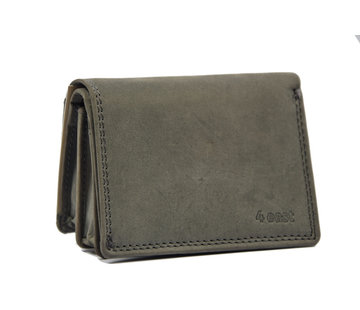 4East Kleine portemonnee van buffelleer, met kleine geld- zeer compact - RFID - vakantie portemonnee - Mini portemonnee. Grijs