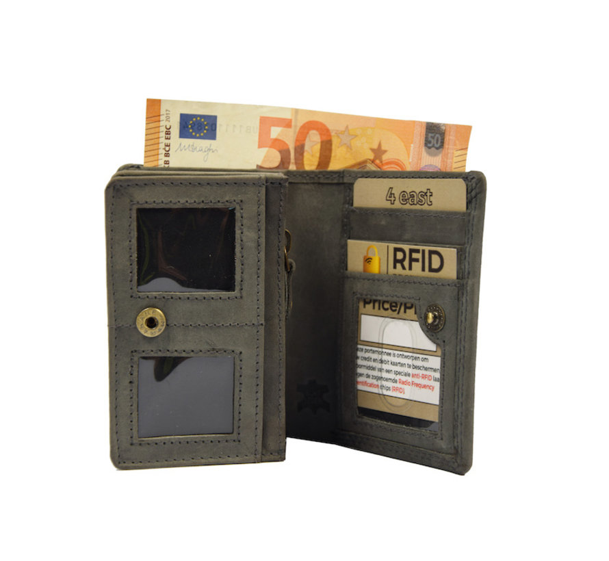 Kleine portemonnee van buffelleer, met kleine geld- zeer compact - RFID - vakantie portemonnee - Mini portemonnee. Grijs