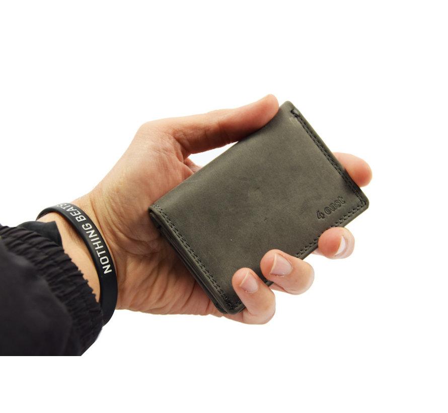 4East Kleine portemonnee van buffelleer, met kleine geld zeer compact RFID vakantie portemonnee Mini portemonnee Harmonica portemonnee