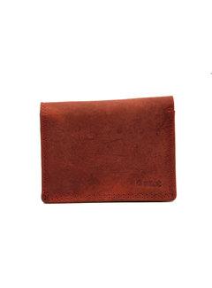 4East Kleine portemonnee van buffelleer, met kleine geld- zeer compact - RFID - vakantie portemonnee - Mini portemonnee. Rood