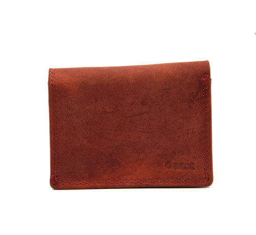 4East Small wallet of buffalo leather, with small money - very compact - RFID - holiday wallet - Mini wallet. Red