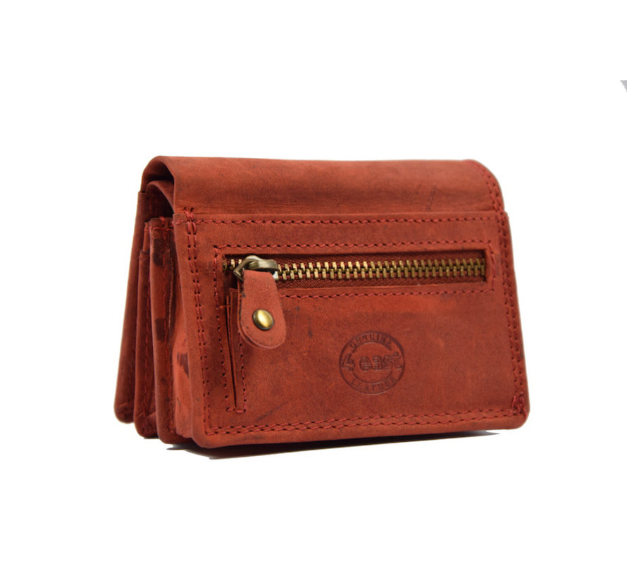Small wallet of buffalo leather, with small money - very compact - RFID - holiday wallet - Mini wallet. Red