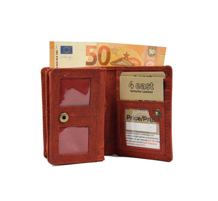 Kleine portemonnee van buffelleer, met kleine geld- zeer compact - RFID - vakantie portemonnee - Mini portemonnee. Rood
