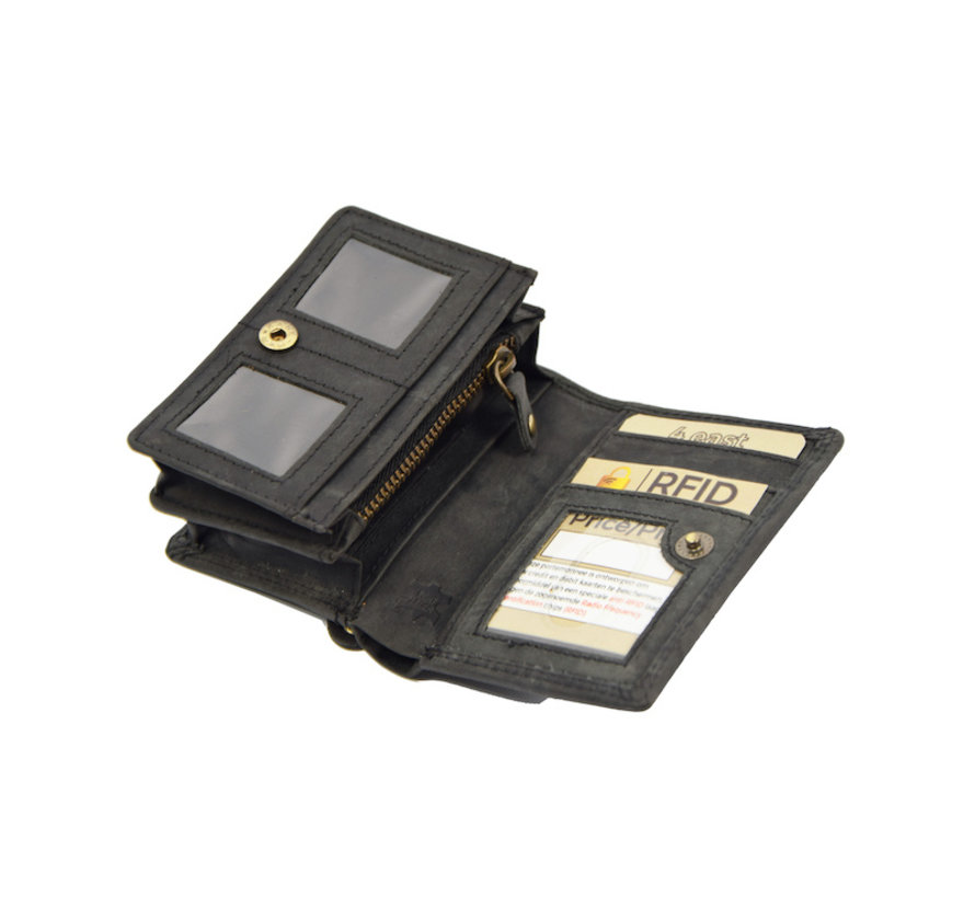 Kleine portemonnee van buffelleer, met kleine geld- zeer compact - RFID - vakantie portemonnee - Mini portemonnee - Harmonica portemonnee