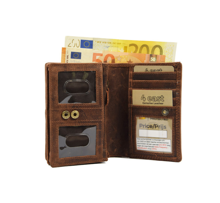 Dames portemonnee- Huishoud portemonnee - Harmonica portemonnee buffelleer -Bruin Portemonnee- RFID portemonnee
