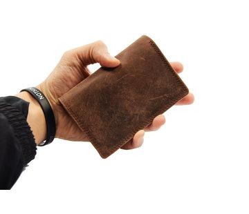 4East Dames portemonnee- Huishoud portemonnee - Harmonica portemonnee buffel