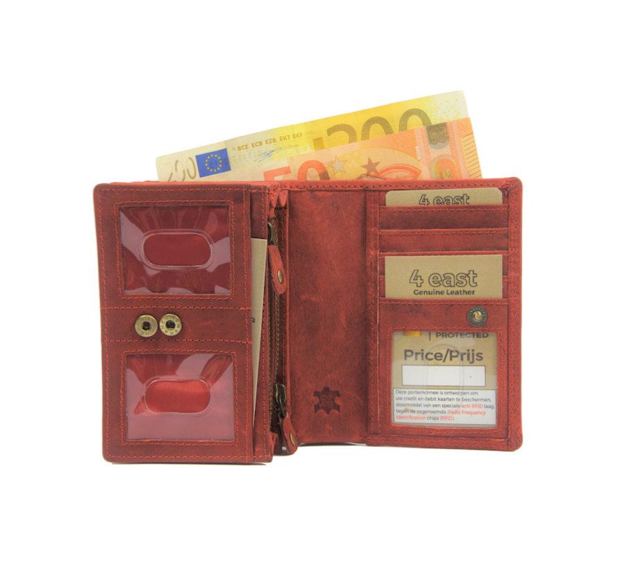 Wallet - Ladies wallet - Mens wallet - Wallet cards - RFID Protected Anti skim - Ladies wallet- Household wallet - Harmonica wallet buffalo leather - Red Wallet - Red-Ladies wallet- Household wallet