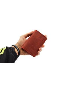 4East Portemonnee - Portemonnee dames - Portemonnee heren - Portemonnee pasjes - RFID Protected Anti skim - Dames portemonnee- Huishoud portemonnee - Harmonica portemonnee buffelleer - Rood Portemonnee - Rood-Dames portemonnee- Huishoud portemonnee