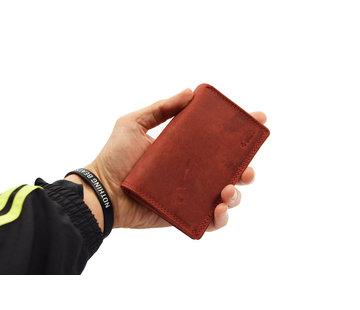4East Wallet - Ladies wallet - Mens wallet - Wallet cards - RFID Protected Anti skim - Ladies wallet- Household wallet - Harmonica wallet buffalo leather - Red Wallet - Red-Ladies wallet- Household wallet