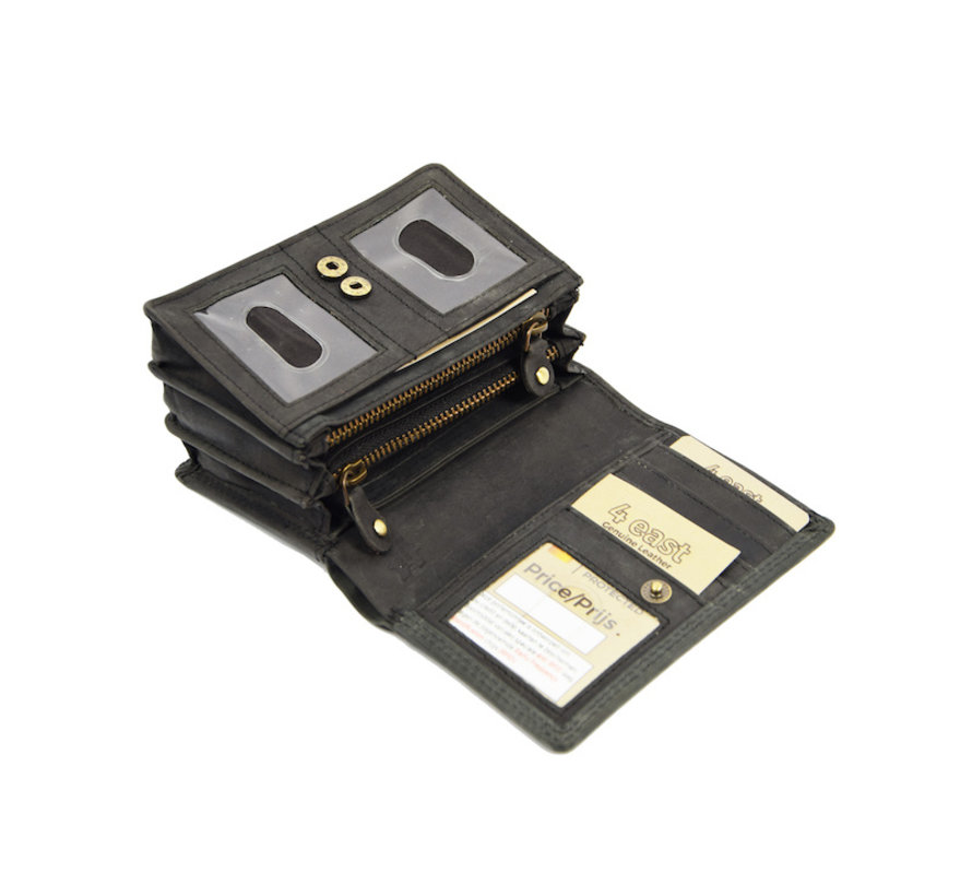 Dames portemonnee- Huishoud portemonnee - Harmonica portemonnee buffelleer -Zwart Portemonnee- RFID portemonnee