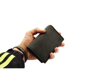 4East Dames portemonnee- Huishoud portemonnee - Harmonica portemonnee buffelleer -Zwart Portemonnee- RFID portemonnee