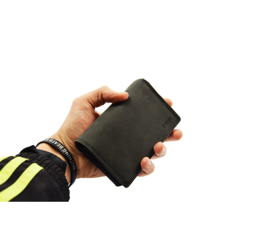 Ladies wallet - Household wallet - Harmonica wallet buffalo leather - Brown Wallet - RFID wallet