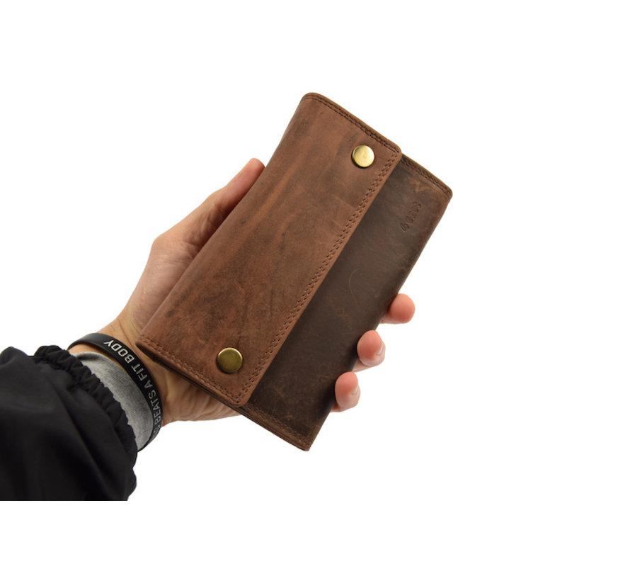 Horeca Portemonnee RFID - huishoud portemonnee - Grote Kelnersbeurs - Koopmans Beurs - buffelleer - Grote Vakken - 14 Pasjes KOOPMANSBEURS MET SLOT EN RITSVAK.
