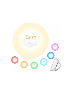 Discountershop Wake up light | FM Radio | Alarm | Alarm clock | Snooze | 6 Different Colors Multi Color | 10 light settings