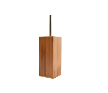 Discountershop Toilet brush wood 8mm thick - toilet brushes - WC Bamboo light color - Toilet brush holder with toilet brush holder - Wooden brush holder
