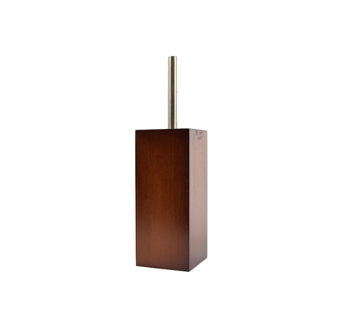 Discountershop  Toilet brush wood 8mm thick - toilet brushes - WC Bamboo Dark color - Toilet brush holder with toilet brush holder - Wooden brush holder - dark brown