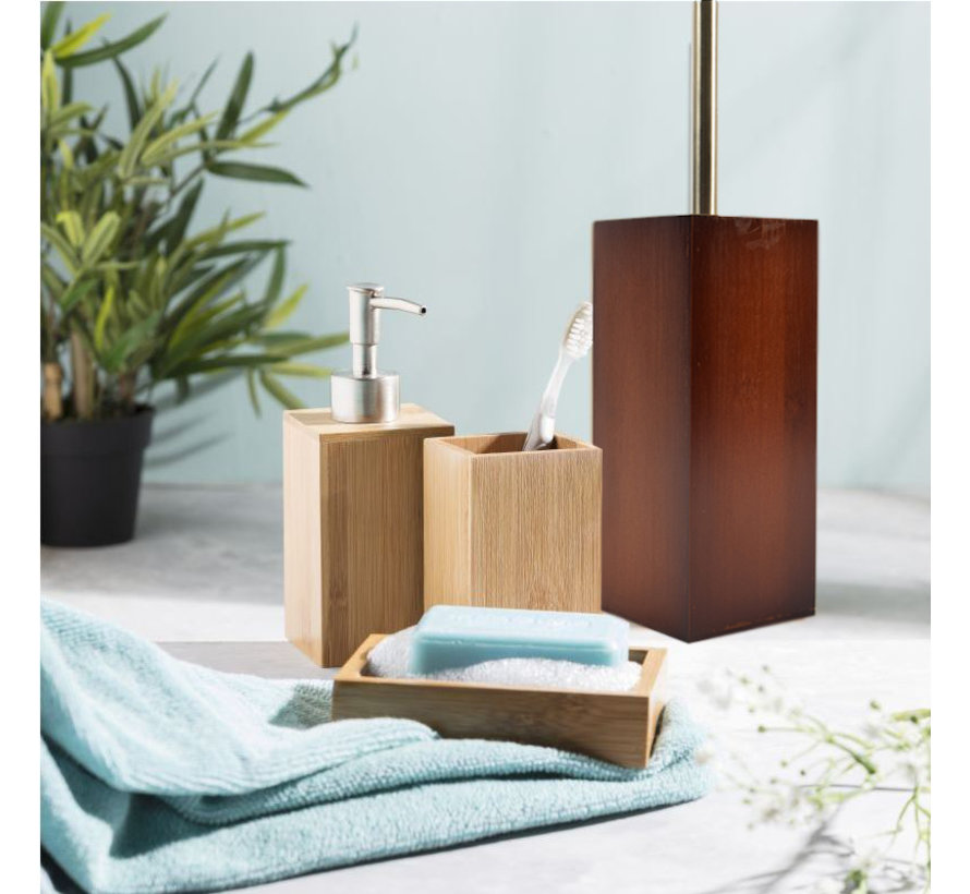 Toilet brush wood 8mm thick - toilet brushes - WC Bamboo Dark color - Toilet brush holder with toilet brush holder - Wooden brush holder - dark brown