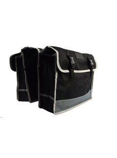 Discountershop Dubbele Fietstas waterdicht met reflecterende strepen voor extra veiligheid- Fietstas 32 Litre zwart