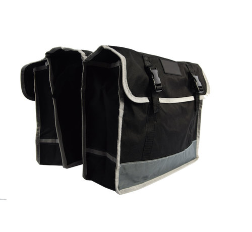 Discountershop Double Pannier waterproof with reflective stripes for extra safety - Pannier 32 Liter black