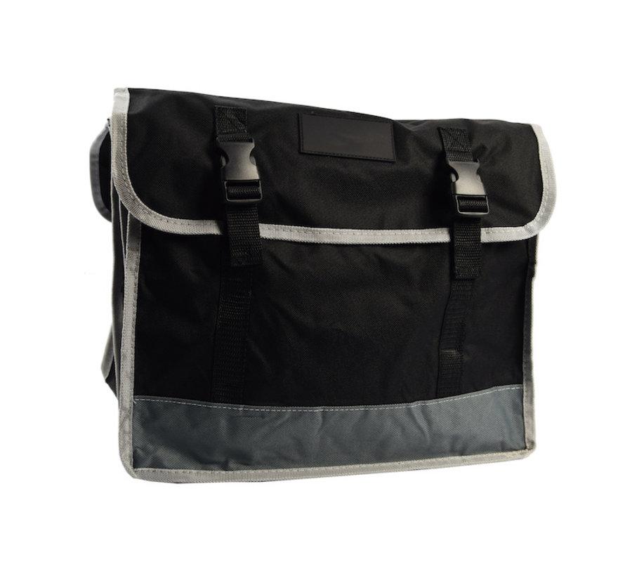 Dubbele Fietstas waterdicht met reflecterende strepen voor extra veiligheid- Fietstas 32 Litre zwart