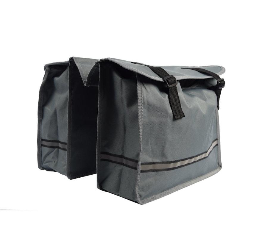Dubbele Fietstas waterdicht met reflecterende strepen voor extra veiligheid- Fietstas Grijs