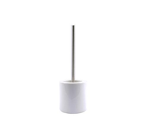 Discountershop WC Brush Set Freestanding Ceramic with Black stainless steel brush