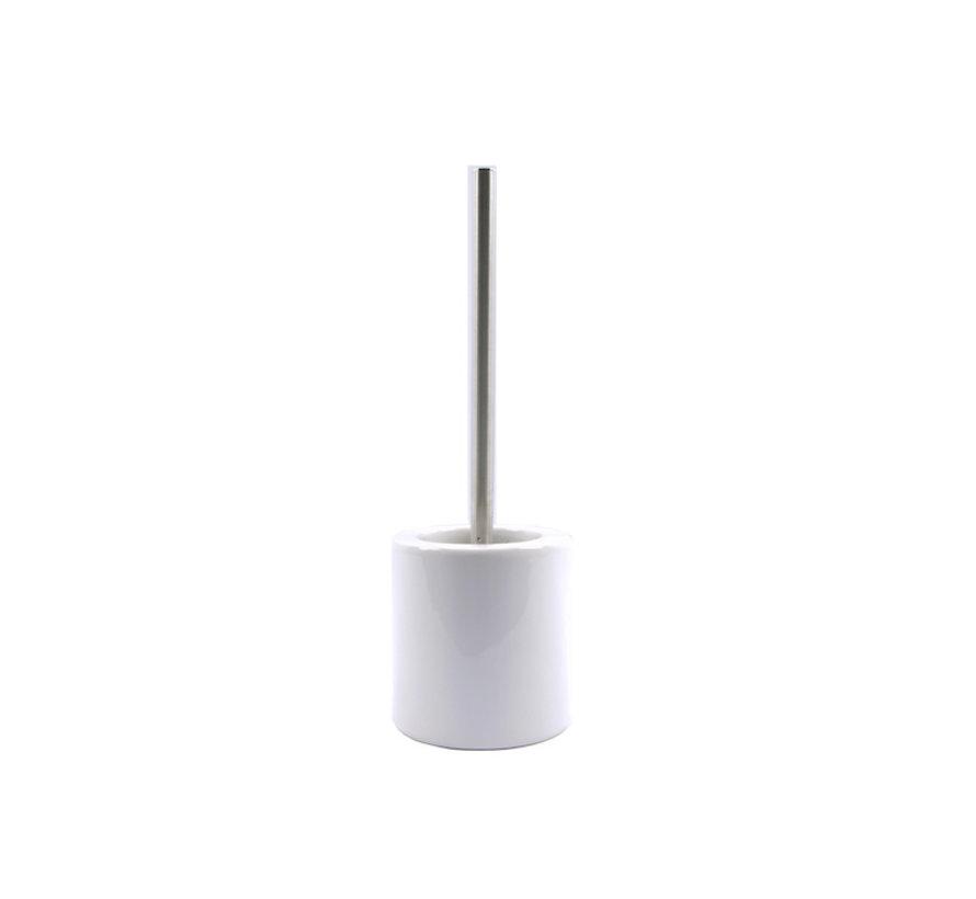 WC Brush Set Freestanding Ceramic with Black stainless steel brush