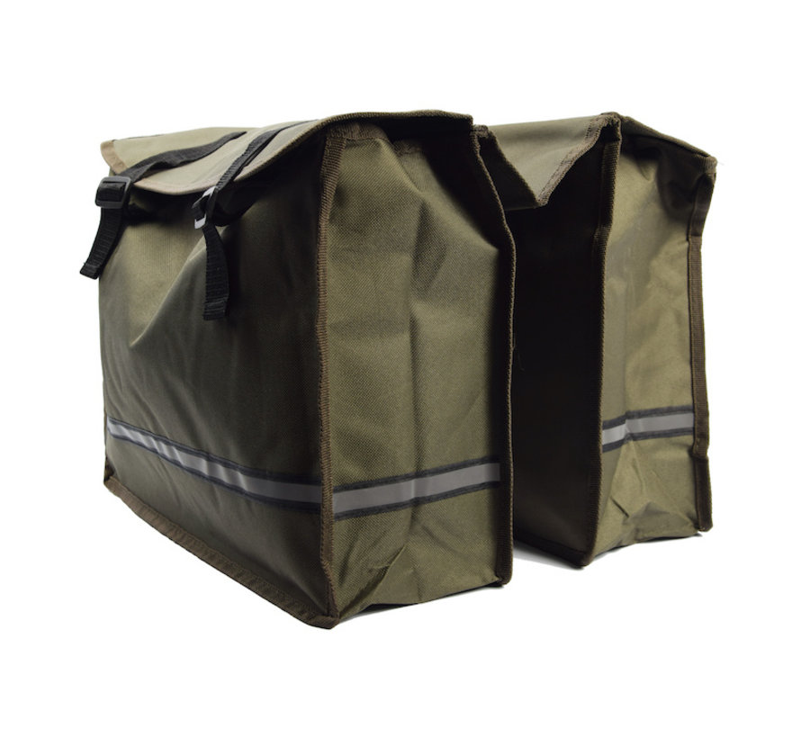 Double Pannier waterproof with reflective stripes for extra safety - Pannier Green 36x30x12cm