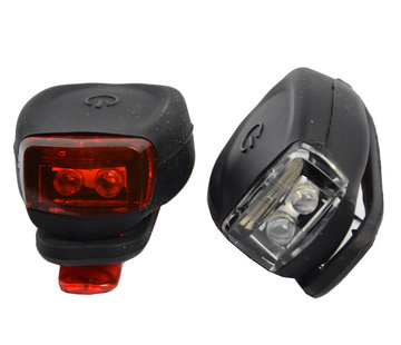 Discountershop Bicycle lights LED front light and rear light silicone set of 2 - Bicycle lighting front light and rear light lighting set - Bicycle lights children bicycle lighting set waterproof silic