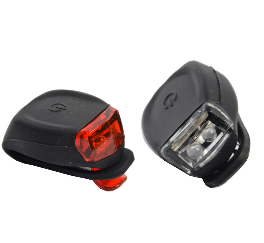 Bicycle lights LED front light and rear light silicone set of 2 - Bicycle lighting front light and rear light lighting set - Bicycle lights children bicycle lighting set waterproof silic