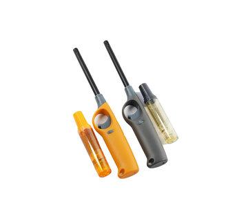 Discountershop Gasaansteker met navulling 2X Geel en Grijs - HervulbareNavulbare Aansteker - Kinderbescherming - Vlamaanpassing - Branstofindicator -