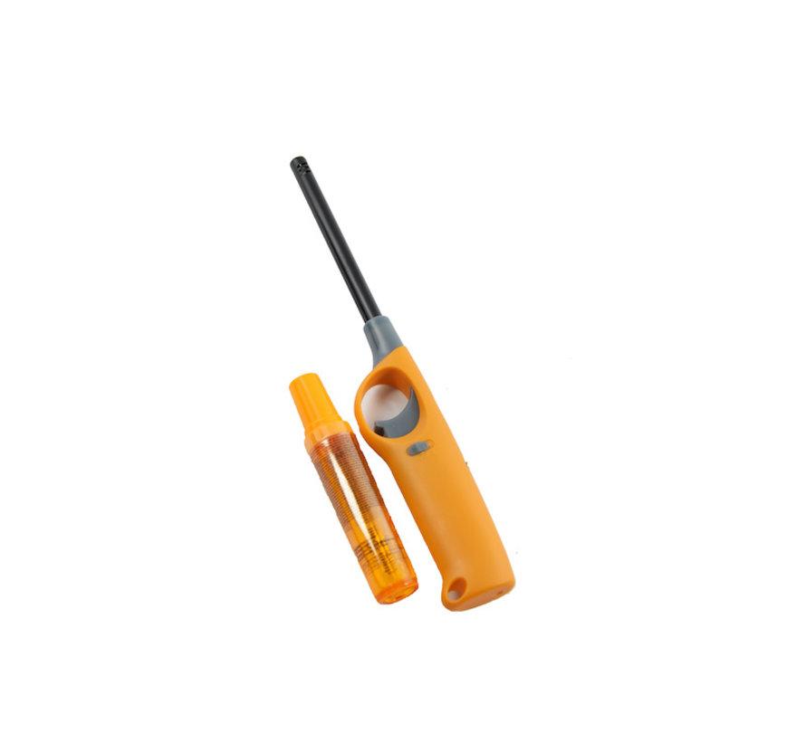 Gasaansteker met navulling 2X Geel en Grijs - HervulbareNavulbare Aansteker - Kinderbescherming - Vlamaanpassing - Branstofindicator -