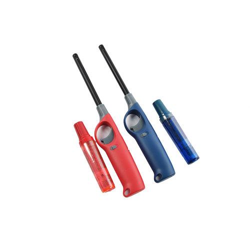 Discountershop Gasaansteker met navulling 2X Rood en Blauw - HervulbareNavulbare Aansteker - Kinderbescherming - Vlamaanpassing - Branstofindicator -